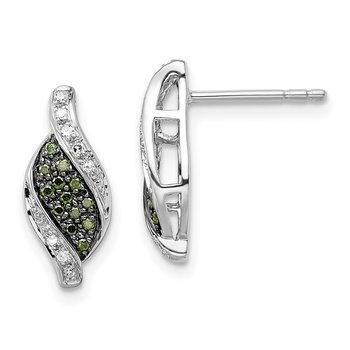 Sterling Silver Rhodium-plated Green/White Diamond Swirl Post Earrings