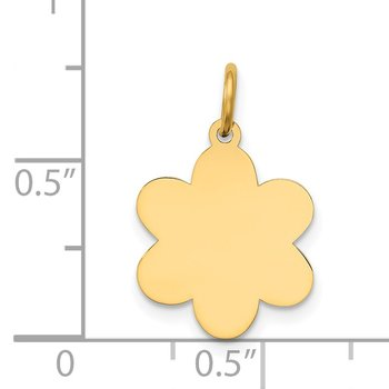 14k Plain .013 Gauge Engravable Flower Disc Charm