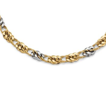 Leslie's 14k Two-tone Polished and textured Fancy Link Necklace