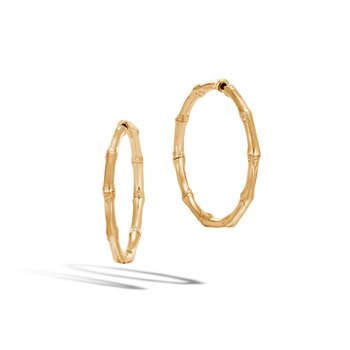 Bamboo Medium Hoop Earring in 18K Gold
