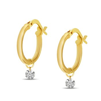 14K Yellow Gold Hollow Hoop Diamond Earrings
