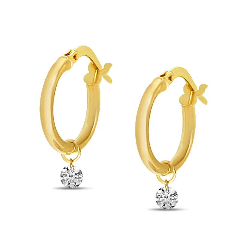Color Merchants 14K Yellow Gold Hollow Hoop Diamond Earrings