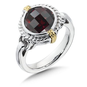 Sterling Silver, 18K Gold and Garnet Ring