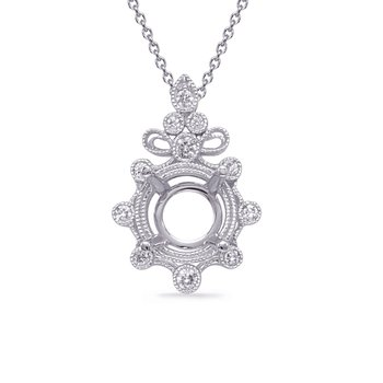 White Gold Diamond Pendant for 3/4 ct