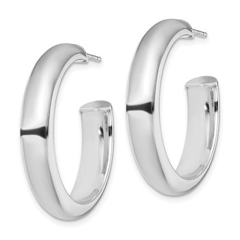 Sterling Silver Rhodium-plated Polished 6mm Post Hoops