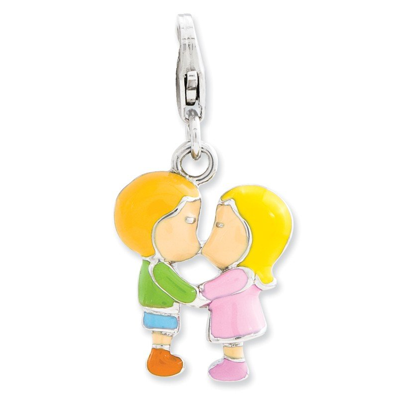 Quality Gold Sterling Silver Enameled Kissing Couple w/Lobster Clasp Charm