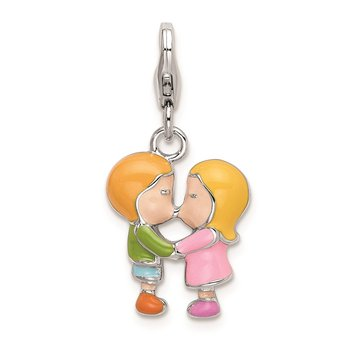 SS RH Enameled Kissing Couple w/Lobster Clasp Charm