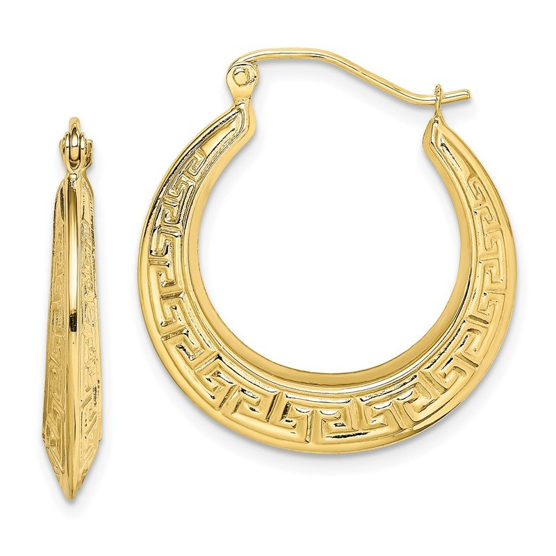 Quality Gold 10k Polished Hollow Greek Key Earrings