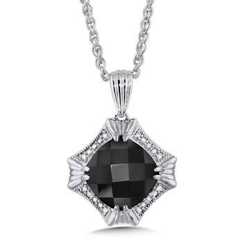 Sterling Silver Onyx and Diamond Pendant