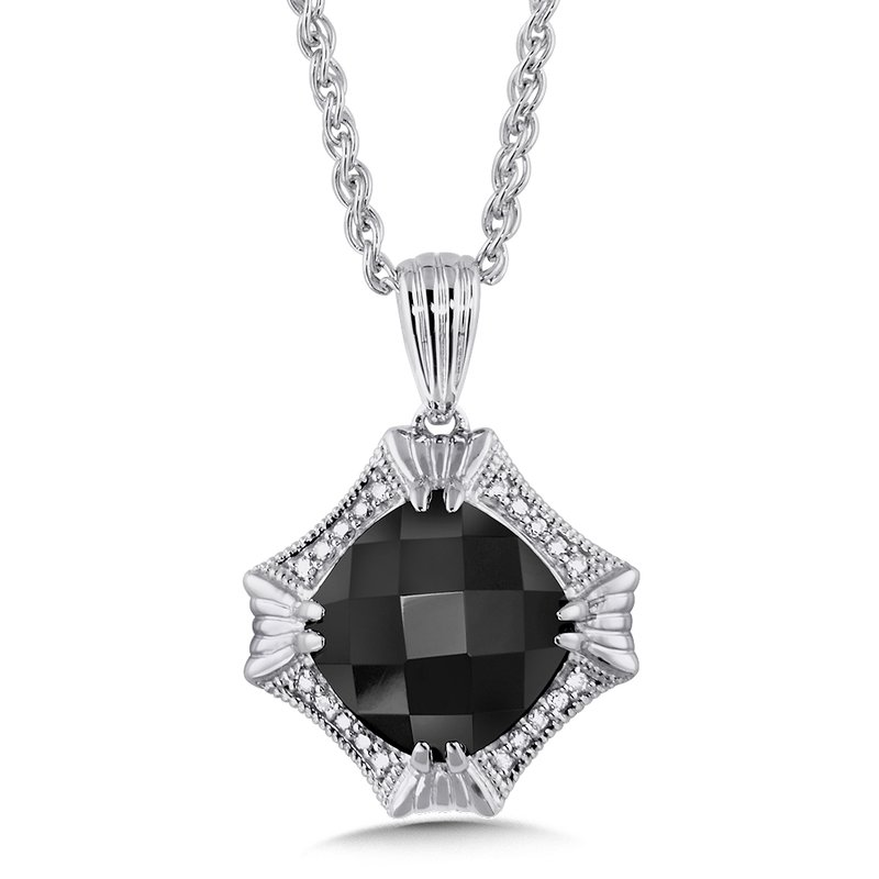 Colore Sg Sterling Silver Onyx and Diamond Pendant