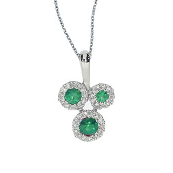 14k White Gold Triple Emerald and .07 ct Diamond Pendant