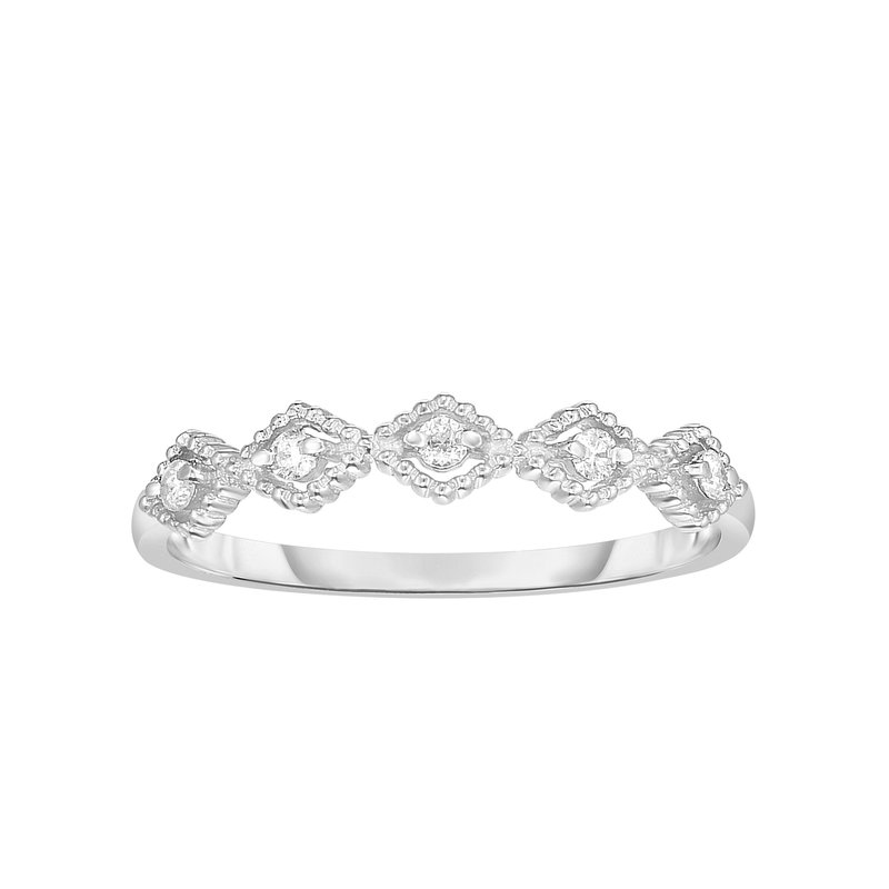 Royal Chain 14K Gold .08ct Diamond Kite Shape Stackable Ring