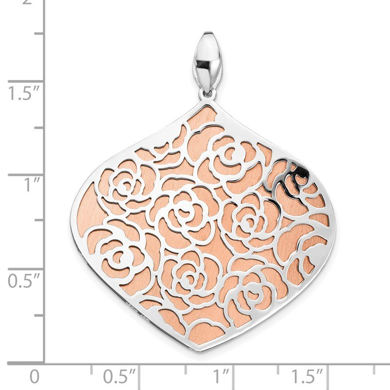 Leslie's Leslie's Sterling Silver Rose and White Polished Textured Pendant