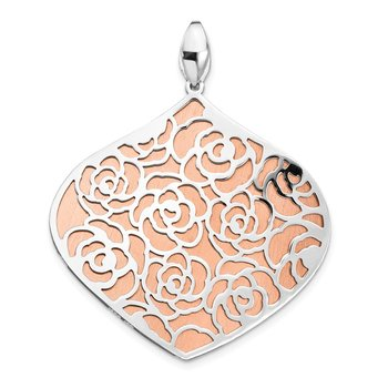 Leslie's Sterling Silver Rose and White Polished Textured Pendant
