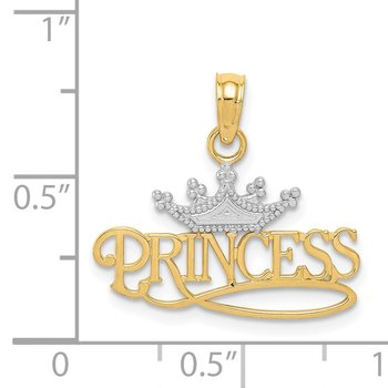 14k & Rhodium Polished Princess with Crown Pendant