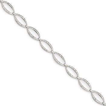 Leslie's 14k White Gold Polished and Diamond-cut Bracelet