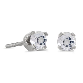 3 mm Petite Round White Topaz Screw-back Stud Earrings in 14k White Gold