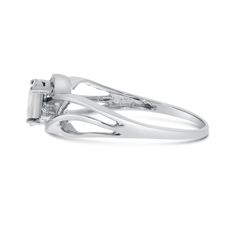 Color Merchants 14k White Gold Oval White Topaz And Diamond Curve Ring