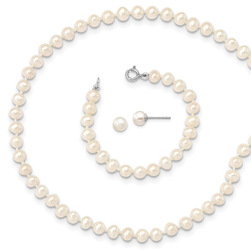 J.F. Kruse Signature Collection Sterling Silver Madi K Rhod-plat 4-5mm FWC Pearl Neck/Brac/5mm Earrring Set