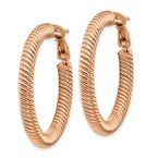 10k 4x25 Rose Gold Twisted Round Omega Back Hoop Earrings
