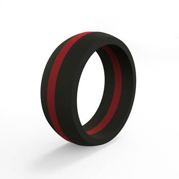 Men's Thin Red Line Pinstripe Silicone Ring