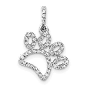 14k White Gold 1/4ct. Diamond Paw Print Pendant