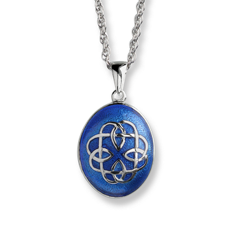 Fine Enamels Silver Celtic Locket-Blue