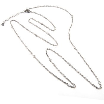 "STERLING SILVER DIAMOND NECKLACE (44"" + 2"")"