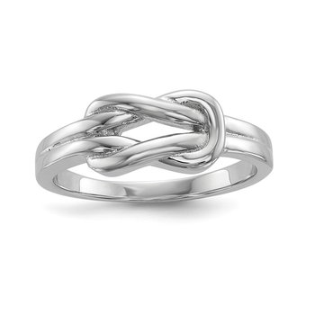 Sterling Silver Rhodium-plated Knot Ring