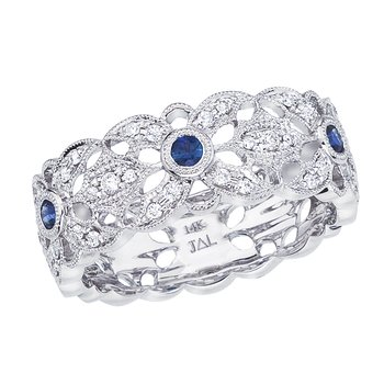 14k White Gold Sapphire and Diamond Filigree Ring