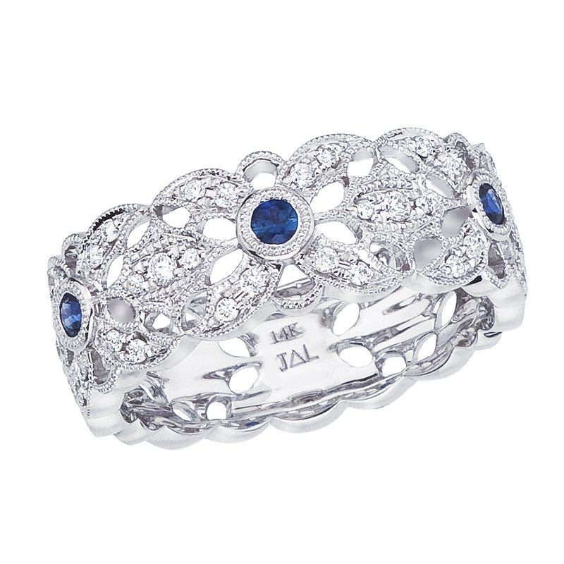 Color Merchants 14k White Gold Sapphire and Diamond Filigree Ring