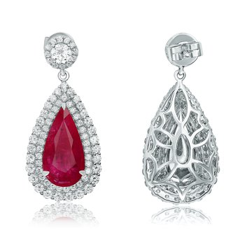 Pear-shaped Ruby Drop Earrings