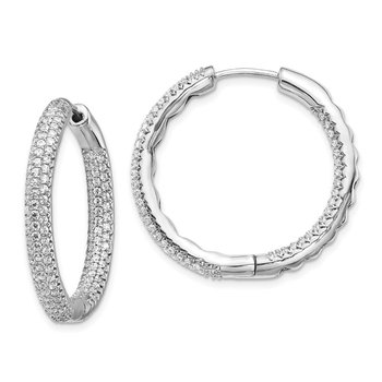 14k White Gold 1 1/2Ctw Hinged Hoop Diamond Earrings