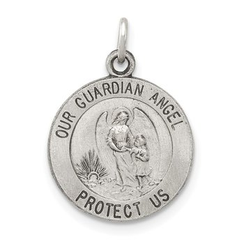 Sterling Silver Antiqued Guardian Angel Medal