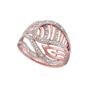 10kt Rose Gold Womens Round Diamond Open-work Cocktail Ring 1/10 Cttw