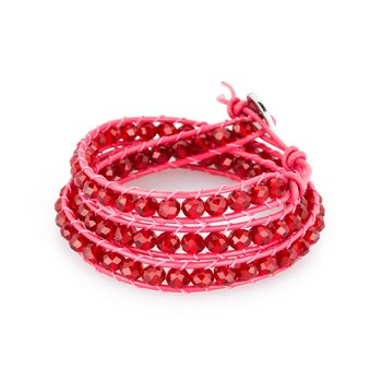 Bracelet. Red leather, 316L steel closure and siam red crystals