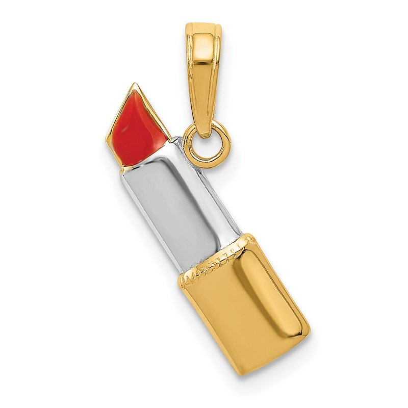 Quality Gold 14K and Rhodium Enameled Lipstick Charm