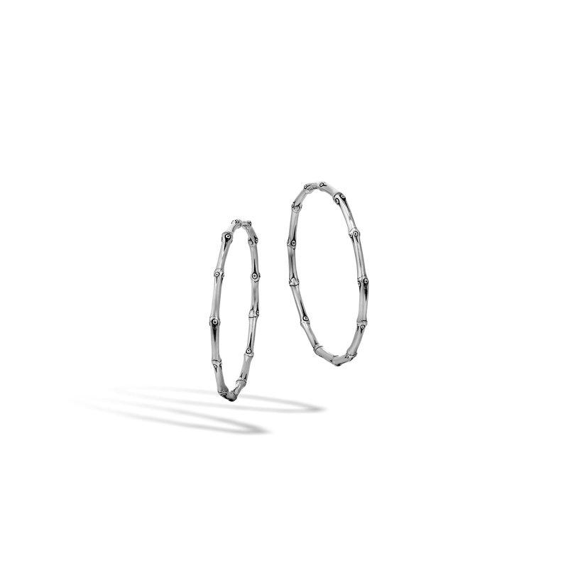 John Hardy Bamboo Large Hoop Earring In Silver Stock Eb5111