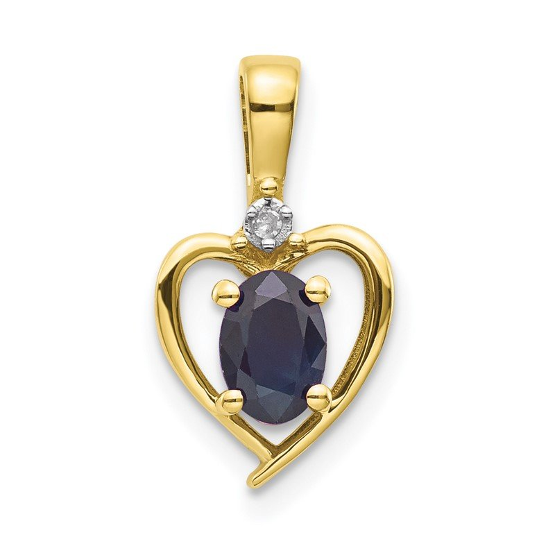 Quality Gold 10K Diamond and Sapphire Pendant