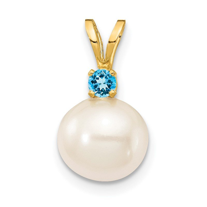 Quality Gold 14K Blue Topaz 8-8.5mm White Round FWC Pearl Pendant
