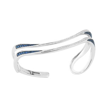Diamond 0.44ct and Sapphire 0.94ct 14K gold hinged cuff