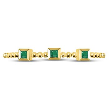 10kt Yellow Gold Womens Princess Emerald Beaded 3-stone Stackable Band Ring .03 Cttw