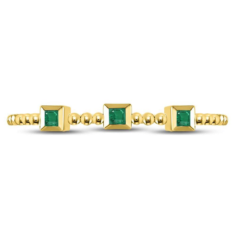 Kingdom Treasures 10kt Yellow Gold Womens Princess Emerald Beaded 3-stone Stackable Band Ring .03 Cttw