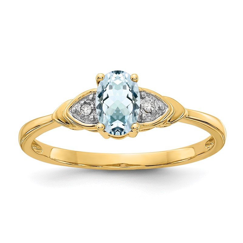 Quality Gold 14k Aquamarine and Diamond Ring