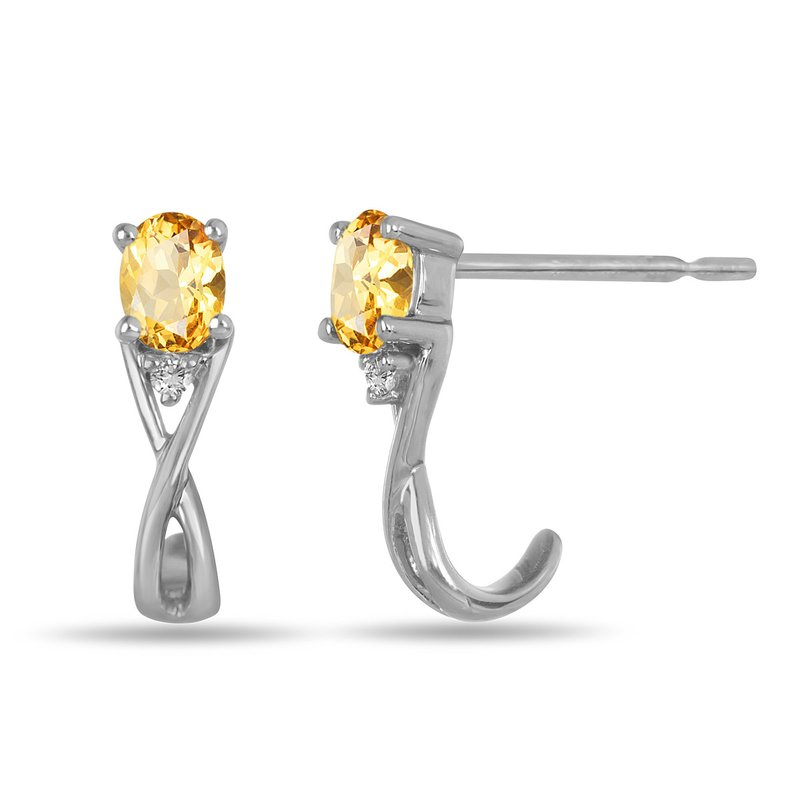BB Impex 10K WG and diamond and Citrine infinity style birthstone earring