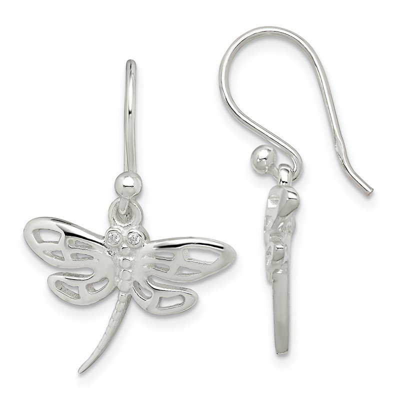 Sterling Silver CZ Dragonfly Dangle Earrings