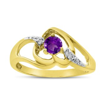 10k Yellow Gold Round Amethyst And Diamond Heart Ring