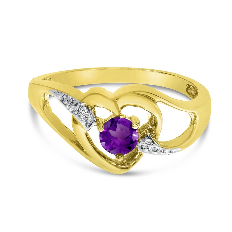 Color Merchants 10k Yellow Gold Round Amethyst And Diamond Heart Ring