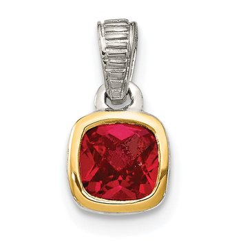 Sterling Silver w/ 14K Accent Created Ruby Pendant