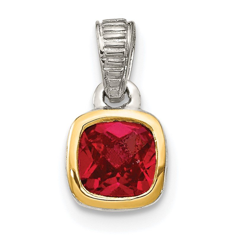 Arizona Diamond Center Collection Sterling Silver w/ 14K Accent Created Ruby Pendant